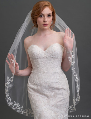 Bel Aire Bridal Veils V7426 - 1-tier fingertip veil with cut edge at sides and embroidered leaf design