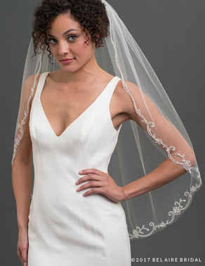 Bel Aire Bridal Veils V7428 - 1-tier fingertip veil with corded scroll design at edge