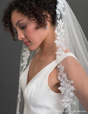 Bel Aire Bridal Veils V7430 - 1-tier waltz length veil edged with romantic floral lace