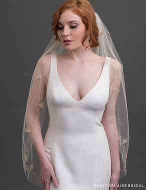 Bel Aire Bridal Veils V7431 - 1-tier fingertip veil with metallic embroidery, beads, and pearls