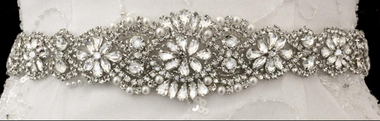Noelle & Ava Collection - Marquise rhinestone sash belt with pearl and bugle bead accent  - 05
