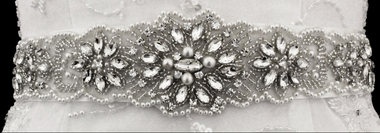 Noelle & Ava Collection - Popular sash belt with marquise, rhinestone, pearl, bugle bead - 07