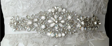 Noelle & Ava Collection - Luxury sash belt/head band with teardrop rhinestones & marquis, accents with pearls,  rhinestones and shining bugle beads - 12