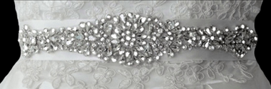 Noelle & Ava Collection - Luxury floral design sash rhinestone belt with pearl center - 14