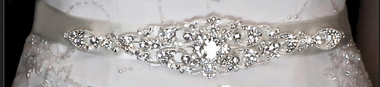 Noelle & Ava Collection - Dimensional buckle of giant brilliant cut rhinestone with small encrusted rhinestones on oval shaped leave patterns - 15