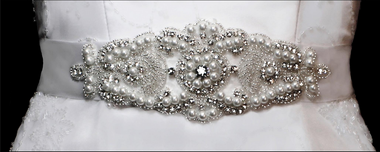 Noelle & Ava Collection - Rhinestone and bugle beads jewelry belt/head band applique  - 16