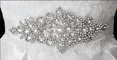 Noelle & Ava Collection - Rhombus shaped Rhinestone Belt with all different shapes of rhinestone - 19