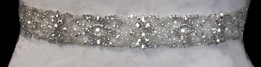 Noelle & Ava Collection - Hand sewn top grade Sash Belt with Swarovski crystals, marquise,rhinestones,bugle beads and seeds - 24