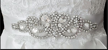 Noelle & Ava Collection - Rhinestone belt/head band with pearls & bugle beads - 29