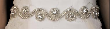 Noelle & Ava Collection - Wave pattern sash belt of rhinestone rings with large rhinestone center and shiny bugle bugle beads outlines - 30