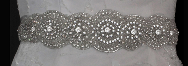 Noelle & Ava Collection - Sash belt with beads, rhinestones & sequins - 32