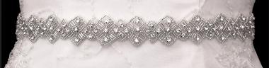 Noelle & Ava Collection - Diamond shape rhinestone and bugle beads sash belt/hair band - 63