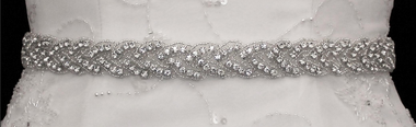 Noelle & Ava Collection - Noelle & Ava Collection - Long braided pattern sash belt of rhinestones and brilliant bugle bead outlines - 64