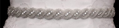 Noelle & Ava Collection - Bugle beads twisted rope design with rhines tone accent, sash belt/hair band - 66