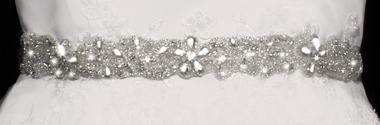 Noelle & Ava Collection - Floral design belt/head band/choker with pear shaped rhinestone, round rhinestones, seeds and bugle bdads - 25