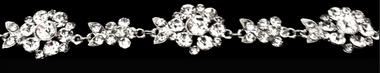 Noelle & Ava Collection - Rhinestone floral medallion chain design sash belt/hair band - 11