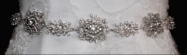 Noelle & Ava Collection - Rhinestone lacy flowers & 4 small flowers belt/hair band - 33
