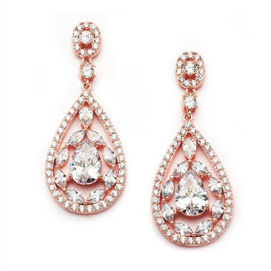 Mariell Gold Cubic Zirconia Mosaic Teardrop Bridal, Prom or Wedding Earrings 4093E-RG