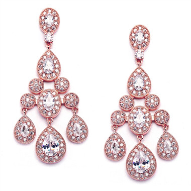Mariell Rose Gold Wedding Chandelier Earrings in Pave Encrusted CZ  2052E-RG