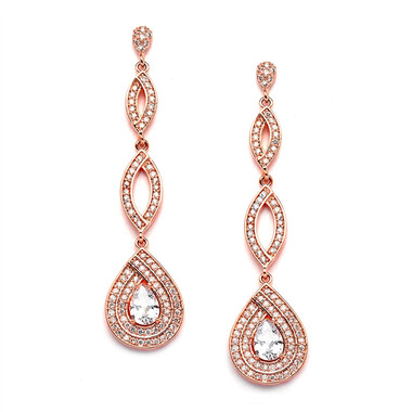 Mariell Rose Gold Micro pave Cubic Zirconia Teardrop Wedding Earrings  4092E-RG