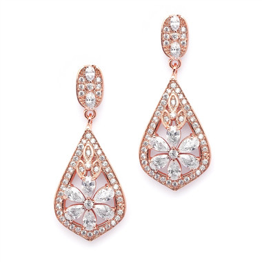 Mariell Sophisticated Rose Gold Art Deco CZ Clip-On Wedding Earrings  4237EC-RG