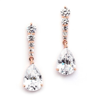 Mariell Rose Gold Cubic Zirconia Pears Dangle Earrings with Graduated Top  3677E-RG