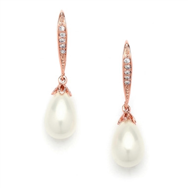 Mariell Vintage French Wire Wedding Earrings with Pearl Teardrops with CZ Pave  4563E-I-RG