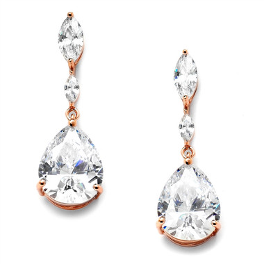 Mariell Top Cubic Zirconia Wedding Earrings with Dainty Marquise & Pear Drop 4154E-RG