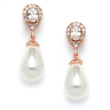 Mariell CZ Pear Bridal Earrings with Bold Soft Cream Pearl Drops  4516EC-I-RG