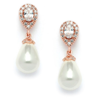 Mariell CZ Pear Bridal Earrings with Bold Soft Cream Pearl Drop 4516E-I-RG
