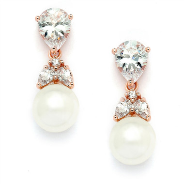 Mariell Top-Gold CZ Bridal Earrings with Pears and Pearl Drops  4490E-I-RG