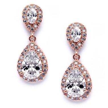 Mariell Lustrous Cubic Zirconia Teardrop Wedding Earrings 3520E-RG