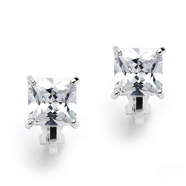 Mariell Clip-On Earrings with 2 Carat 8mm Princess Cut CZ Solitaire 4549EC-S