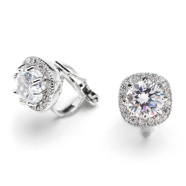 Mariell Cubic Zirconia Cushion Shape 10mm Halo Clip On Stud Earrings with Round Cut Solitaire 4556EC