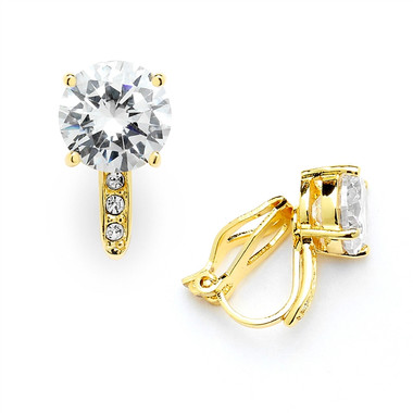Mariell 2.0 Ct. CZ Solitaire Clip-On Stud Earrings (8mm) with 14k Gold Plated Pave Accents 4558EC-G