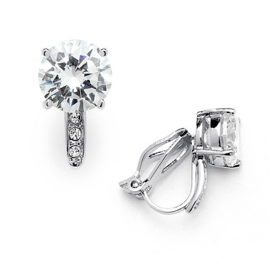 Mariell 2.0 Ct. CZ Clip-On Stud Earrings (8mm) with Platinum Plated Pave Accents 4558EC-S