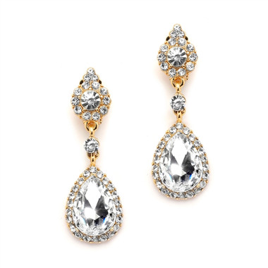 Mariell Gold and Crystal Clip-on Earrings with Teardrop Dangles 4532EC-G