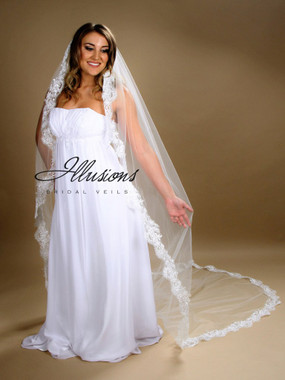 108 Inches Long - Illusions Bridal Veils Style Number C7-1081-14L - Cathedral Lace Edge