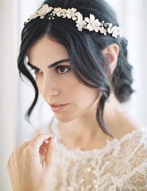 Bel Aire Bridal 6744 - garland of dimensional metal flowers