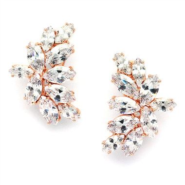 Mariell Rose Gold Clip-On Earrings with 2 Carat 8mm CZ Solitaire 3598e-rg