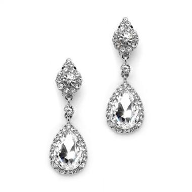 Mariell Crystal Clip-on Earrings with Teardrop Dangles 4532EC-S