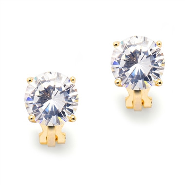 Mariell Gold Clip-On Earrings with 3 Carat 9.5mm CZ Solitaire 4512EC-G