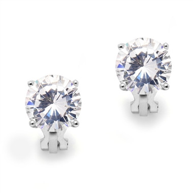Mariell Platinum Clip-On Earrings with 3 Carat 9.5mm CZ Solitaire 4512EC-S