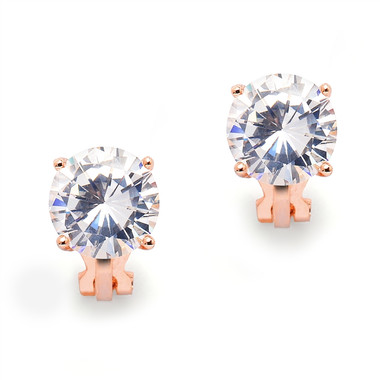 Mariell Rose Gold Clip-On Earrings with 3 Carat 9.5mm CZ Solitaire 4512EC-RG