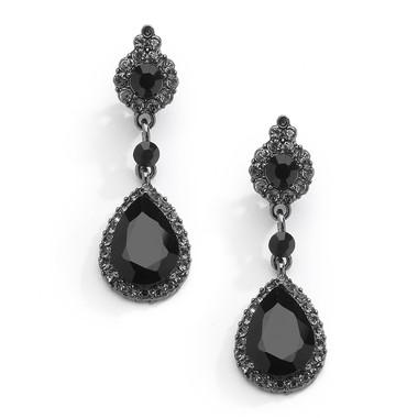 Mariell Jet Black Crystal Clip-On Earrings with Teardrop Dangles 4532EC-BK