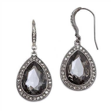 Mariell Black Diamond Teardrop Earrings with Pave Accents 4247e-bd