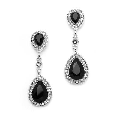 Mariell Jet Black Crystal Pear-Shaped Vintage Dangle Earrings 4543E-JE-S
