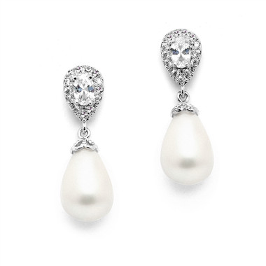 Mariell CZ Pear Bridal Clip-On Earrings with Bold Soft Cream Pearl Drops 4516EC-I-S