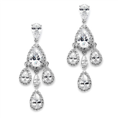Mariell Petite Cubic Zirconium Chandelier Earrings with Platinum Rhodium Plated Pearl -Shaped Halo Teardrops 4555E-S