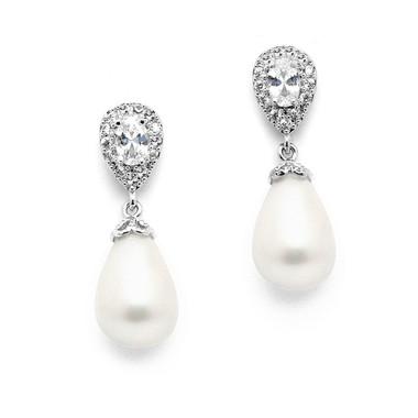 Mariell CZ Pear Bridal Earrings with Bold Soft Cream Pearl Drops 4516E-I-S